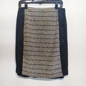 Bebe Black/Gold/White Sequin Tweed Pencil Skirt M